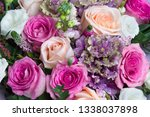 bouquet of roses with white... | Shutterstock . vector #1338037898