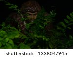 Stock photo bigfoot peeking through foliage on a black background with colored gels 1338047945