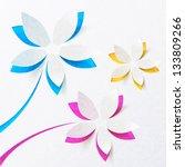 cutout paper flowers vector... | Shutterstock .eps vector #133809266