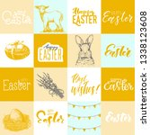 set of hand drawn easter card... | Shutterstock .eps vector #1338123608