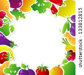 frame made of fruits and... | Shutterstock .eps vector #133812815