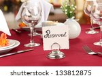 reserved sign on restaurant... | Shutterstock . vector #133812875