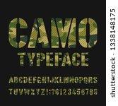 camo alphabet typeface. stencil ... | Shutterstock .eps vector #1338148175