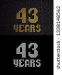 golden number forty three years ... | Shutterstock . vector #1338148562