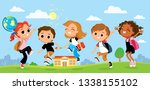smiling children having fun... | Shutterstock .eps vector #1338155102