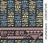 retro hand drawn texture tribal ... | Shutterstock .eps vector #1338187145