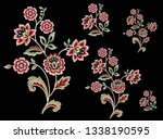 mughal flower bunch motif black ... | Shutterstock . vector #1338190595