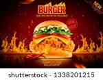 delicious spicy fried chicken... | Shutterstock .eps vector #1338201215