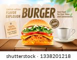 delicious fried chicken burger... | Shutterstock .eps vector #1338201218