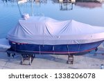 boat covered with white... | Shutterstock . vector #1338206078