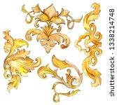 gold monogram floral ornament....   Shutterstock . vector #1338214748