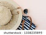 summer beach wear and travel... | Shutterstock . vector #1338235895