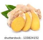 Fresh Ginger Isolated On White...