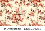 seamless fabric pattern with... | Shutterstock . vector #1338264218