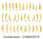 set of hand drawn golden wheat... | Shutterstock . vector #1338303575