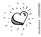 hand drawn doddle heart...   Shutterstock .eps vector #1338305885
