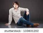 handsome young man studio... | Shutterstock . vector #133831202