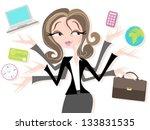 business woman juggling tasks... | Shutterstock .eps vector #133831535