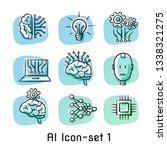 set of artificial intelligence... | Shutterstock .eps vector #1338321275