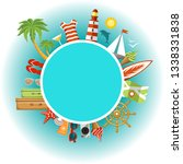 blue poster with a summer... | Shutterstock .eps vector #1338331838