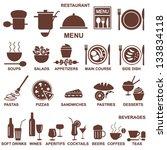 restaurant menu silhouettes | Shutterstock .eps vector #133834118