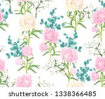 seamless pattern with pink and... | Shutterstock .eps vector #1338366485