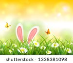 easter theme with bunny ears.... | Shutterstock .eps vector #1338381098