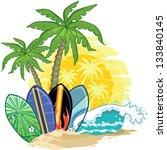 tropical landscape  palm trees... | Shutterstock .eps vector #133840145