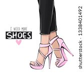vector girl in high heels. dark ... | Shutterstock .eps vector #1338401492