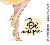 vector girl in high heels.... | Shutterstock .eps vector #1338401495