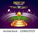 golden winning trophy on night... | Shutterstock .eps vector #1338425525