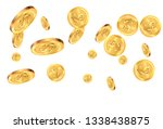 realistic gold coins explosion. ... | Shutterstock .eps vector #1338438875
