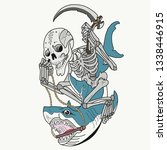 death with a scythe that floats ... | Shutterstock . vector #1338446915