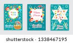 happy purim carnival set poster ... | Shutterstock .eps vector #1338467195