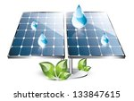 solar panel with water drops... | Shutterstock . vector #133847615