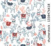 sweet llamas cacrus seamless... | Shutterstock . vector #1338476618