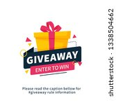 giveaway enter to win poster... | Shutterstock .eps vector #1338504662