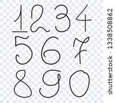 numbers collection  hand drawn... | Shutterstock .eps vector #1338508862