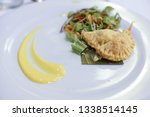 fried potato filled pastry with ... | Shutterstock . vector #1338514145