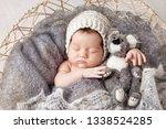 sweet newborn baby sleeps in a...   Shutterstock . vector #1338524285
