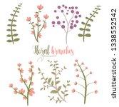 beautiful flowers pack vector...   Shutterstock .eps vector #1338552542