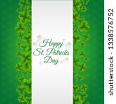green banner with clovers with... | Shutterstock . vector #1338576752