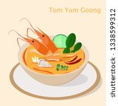 Stock vector flat thai tom yum goong or khung sour and spicy soup traditional asian dish thai food vector 1338599312