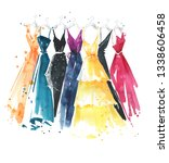 Set Of Watercolor Dresses On...