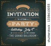 vintage party invitation card... | Shutterstock .eps vector #1338610055