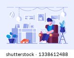 cartoon man spending free time... | Shutterstock .eps vector #1338612488