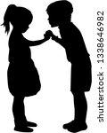 two children talking   black...   Shutterstock .eps vector #1338646982