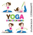 cartoon yoga strectch band. ... | Shutterstock .eps vector #1338666695