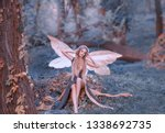Small photo of charming fairy woke up in forest, sweetly smacks after sleeping, cue girl with blond hair, eyes closed in long green dress with cut train, deep decolte, baby spirits with transparent butterfly wings.