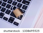 padlock on computer keyboard....   Shutterstock . vector #1338695525